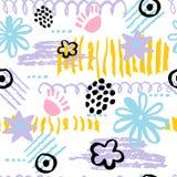 Нарисованная рука scribbles безшовная картина Стоковое Изображение RF