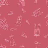 Нарисованная рукой безшовная картина вектора с одеждами Стоковое Фото