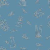 Нарисованная рукой безшовная картина вектора с одеждами Стоковые Изображения