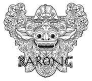 Нарисованная рукой вектора демона Barong стиля книжка-раскраски doodle маска балийского богато украшенная изолированная на белизн Стоковое Изображение RF