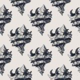 Нарисованная рукой винтажная экзотическая картина конспекта раковины Стоковые Изображения RF