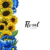 Нарисованная рукой граница цветка Стоковые Изображения