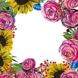 Нарисованная рукой граница цветка Стоковое Изображение