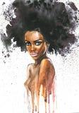 Нарисованная рукой женщина красоты африканская с брызгает Портрет акварели абстрактный сексуальной девушки Стоковые Изображения RF