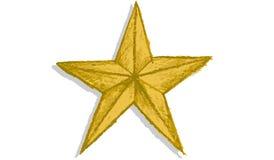 Нарисованная рукой звезда золота Стоковая Фотография