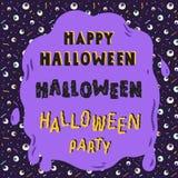 Нарисованная рукой иллюстрация вектора литерности хеллоуина с предпосылкой картины зрачка ретро Стоковые Фото