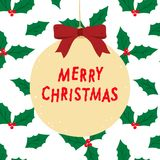 Нарисованная рукой иллюстрация вектора с Рождеством Христовым литерности с ягодой падуба выходит предпосылка картины Стоковое Изображение RF