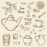 Нарисованная рукой иллюстрация значков чая иллюстрация штока