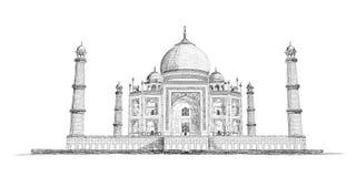 Нарисованная рукой иллюстрация эскиза вектора Тадж-Махала Стоковое Изображение RF