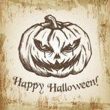 Нарисованная рукой иллюстрация эскиза вектора - творческий винтажный дизайн плаката печати одеяния футболки, тыква зла хеллоуина Стоковое Фото