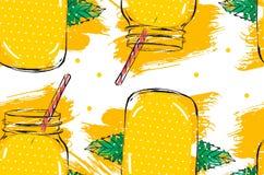 Нарисованная рукой лимонада воды вытрезвителя конспекта вектора картина творческого безшовная с стеклянным опарником, листьями мя Стоковое Изображение RF