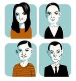 Нарисованная рукой иллюстрация вектора группы людей Стоковая Фотография