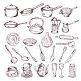 Нарисованная рукой иллюстрация вектора изолята инструментов кухни на белой предпосылке иллюстрация штока