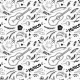 Нарисованная рукой иллюстрация вектора - Мексика Празднество нот иллюстрация вектора
