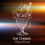 Нарисованная рукой иллюстрация вектора мороженого Стоковое Изображение RF