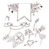 Нарисованная рукой иллюстрация вектора Романтичное собрание с лентами иллюстрация штока