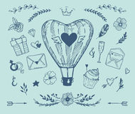 Нарисованная рукой иллюстрация вектора - собрание влюбленности иллюстрация вектора