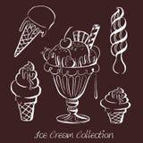 Нарисованная рукой иллюстрация вектора собрания мороженого Стоковое Изображение RF