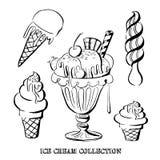 Нарисованная рукой иллюстрация вектора собрания мороженого Стоковое Изображение