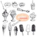Нарисованная рукой иллюстрация вектора установленная с мороженым Стоковые Изображения