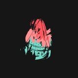 Нарисованная рукой иллюстрация временени конспекта вектора творческая необыкновенная смешная с куском арбуза и freehand текстурам Стоковое Изображение