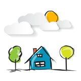 Нарисованная рукой иллюстрация дома с бумажными облаками Стоковые Фотографии RF