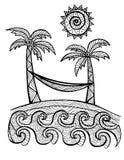 Нарисованная рукой иллюстрация пальм для книжка-раскраски Стоковые Фотографии RF
