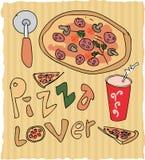 Нарисованная рукой иллюстрация любовника пиццы покрашенная Стоковое Фото