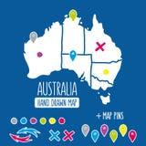 Нарисованная рукой карта перемещения Австралии с вектором штырей бесплатная иллюстрация