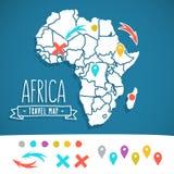 Нарисованная рукой карта перемещения Африки с вектором штырей иллюстрация штока