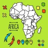 Нарисованная рукой карта перемещения Африки с вектором штырей иллюстрация вектора