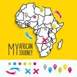 Нарисованная рукой карта перемещения Африки с вектором штырей бесплатная иллюстрация