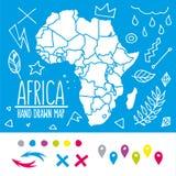Нарисованная рукой карта перемещения Африки с штырями и doodles иллюстрация штока