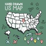 Нарисованная рукой карта США на доске бесплатная иллюстрация