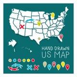 Нарисованная рукой карта США с штырями бесплатная иллюстрация