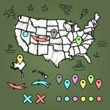 Нарисованная рукой карта США с штырями иллюстрация вектора