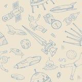 Нарисованная рукой картина астрономии безшовная Предпосылка с космосом возражает, планеты, челноки, ракеты, спутники Стоковые Изображения RF