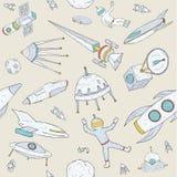 Нарисованная рукой картина астрономии doodle безшовная Предпосылка с космосом возражает, планеты, челноки, ракеты, спутники Стоковые Изображения