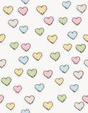 Нарисованная рукой картина вектора сердец Милый красочный дизайн Черный план эскиза Светлая бежевая предпосылка Ребяческая иллюст иллюстрация штока