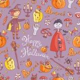Нарисованная рукой картина вектора doodle безшовная с элементом хеллоуина Стоковые Фото