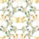 Нарисованная рукой картина ветви сосны безшовная Стоковое Изображение RF