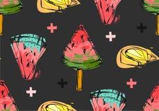 Нарисованная рукой картина временени конспекта вектора необыкновенная безшовная с куском, мороженым, лимоном и крестами арбуза Стоковое Изображение