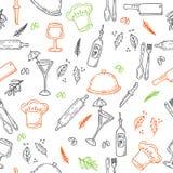 Нарисованная рукой картина еды безшовная Элементы кухни эскиза для yo иллюстрация штока