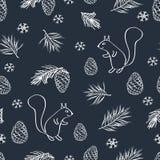 Нарисованная рукой картина зимы безшовная Стоковые Изображения RF