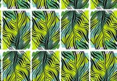 Нарисованная рукой картина конспекта вектора тропическая безшовная с экзотической ладонью джунглей выходит и freehand текстуры в  Стоковые Фото