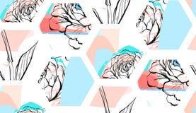 Нарисованная рукой картина коллажа форм шестиугольника конспекта вектора художническая текстурированная безшовная с графиком може Стоковые Изображения RF