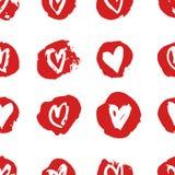 Нарисованная рукой картина краски безшовная Красная и белая предпосылка сердец вектора Абстрактный чертеж щетки Стоковые Изображения