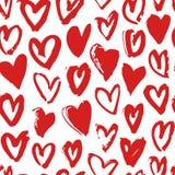 Нарисованная рукой картина краски безшовная Красная и белая предпосылка сердец вектора Абстрактный чертеж щетки Стоковые Фотографии RF
