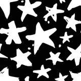 Нарисованная рукой картина краски безшовная Черно-белая предпосылка звезд Стоковая Фотография RF