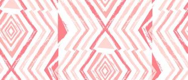 Нарисованная рукой картина Навахо вектора безшовная Ацтекская абстрактная геометрическая печать в пастельных цветах изолированная Стоковое фото RF